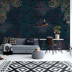 Luxury Dark Brick Wall Photo Wallpaper Wall Mural