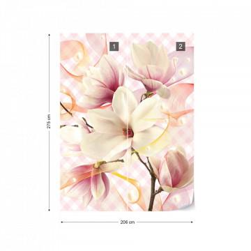 Magnolia Flowers Pink Photo Wallpaper Wall Mural