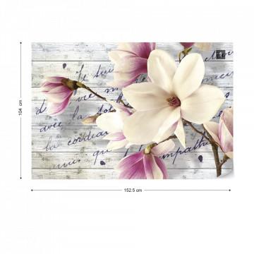 Magnolia Flowers Vintage Script Wood Texture Photo Wallpaper Wall Mural