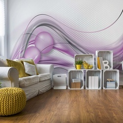 Modern Abstract 3D Design Silver And Purple Photo Wallpaper Wall Mural