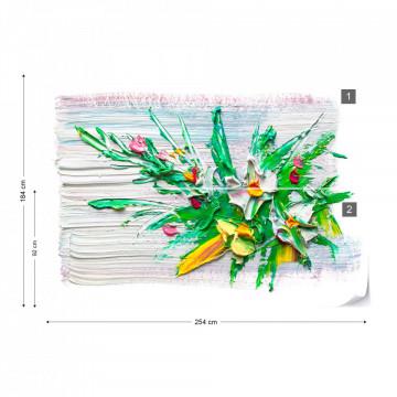 Modern Art Paint Scrapes Flowers Photo Wallpaper Wall Mural