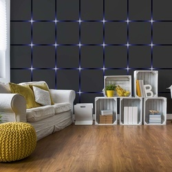 Modern Design Black And Blue Squares Lights Photo Wallpaper Wall Mural