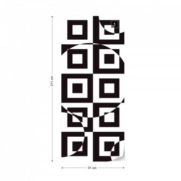 Modern Geometric Pattern Black And White Photo Wallpaper Wall Mural