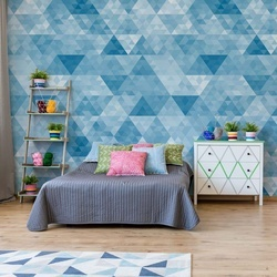Modern Geometric Triangle Design Blue Photo Wallpaper Wall Mural