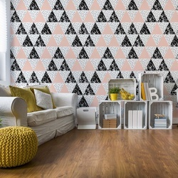Modern Geometric Triangle Pattern Pink Black Photo Wallpaper Wall Mural