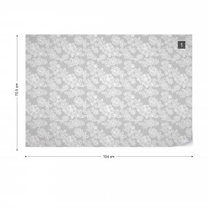Modern Lace Pattern Grey And White Photo Wallpaper Wall Mural