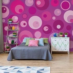 Modern Pink Cirlces Pattern Photo Wallpaper Wall Mural
