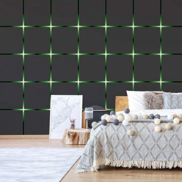 Modern Square Design Green Lights Photo Wallpaper Wall Mural