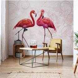 Modern Tropical Flamingos Photo Wallpaper Wall Mural