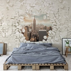 New York Bursting Through Brick Wall Photo Wallpaper Wall Mural