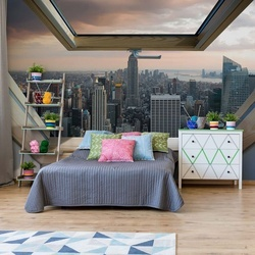 New York City Skyline 3D Skylight Window View Photo Wallpaper Wall Mural