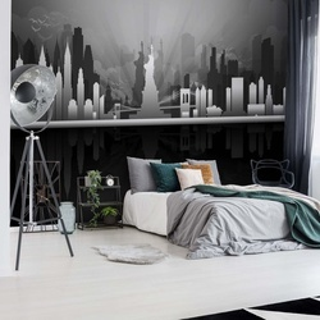 New York City Skyline Black And White Photo Wallpaper Wall Mural
