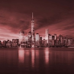 New York City Sunrise in Red