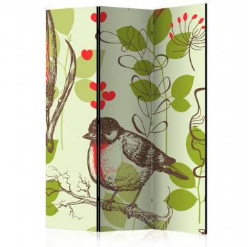 Paravan - Bird and lilies vintage pattern [Room Dividers]