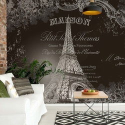 Paris Eiffel Tower Vintage Script Black And White Photo Wallpaper Wall Mural