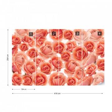 Pink Roses Flowers Photo Wallpaper Wall Mural