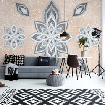 Pink Silver Abstract Pattern Photo Wallpaper Wall Mural