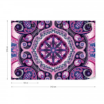 Purple Ethnic Pattern Photo Wallpaper Wall Mural