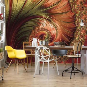 Red Modern Abstract Spiral Design Photo Wallpaper Wall Mural
