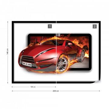 Red Sport'S Car Flames Photo Wallpaper Wall Mural