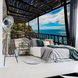 Sea Terrace View Photo Wallpaper Wall Mural