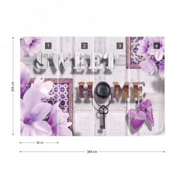 Sweet Home Flowers Vintage Design Purple Photo Wallpaper Wall Mural