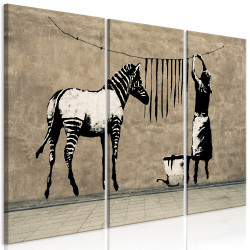 Tablou - Banksy: Washing Zebra on Concrete (3 Parts)