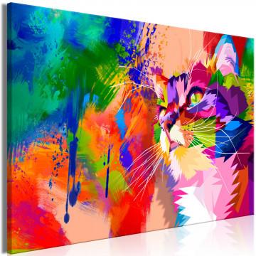 Tablou - Colourful Cat (1 Part) Wide