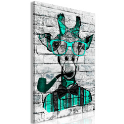 Tablou - Giraffe with Pipe (1 Part) Vertical Green