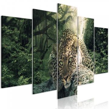 Tablou - Leopard Lying (5 Parts) Wide Pale Green