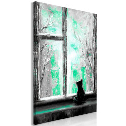Tablou - Longing Kitty (1 Part) Vertical Green