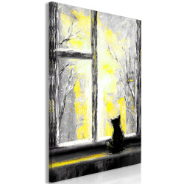Tablou - Longing Kitty (1 Part) Vertical Yellow