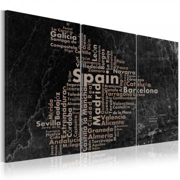 Tablou - Map of Spain on the blackboard - triptich
