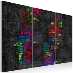 Tablou - Map of Sweden (colored names of cities) - triptych