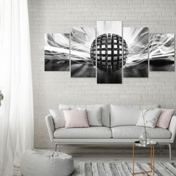 Tablou - Metal Ball (5 Parts) Wide Black and White