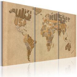 Tablou - The world map in beige and brown