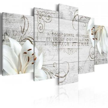 Tablou - White lilies on wood