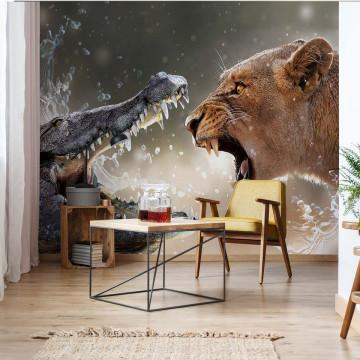 The Battle Lion Alligator Photo Wallpaper Wall Mural