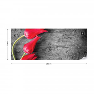 Tulips On Wood Background Photo Wallpaper Wall Mural
