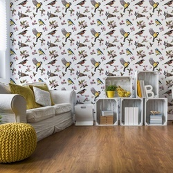 Vintage Bird Pattern Photo Wallpaper Wall Mural