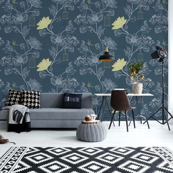 Vintage Blue Pattern Photo Wallpaper Wall Mural