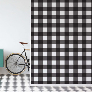 Vintage Gingham Pattern Black And White Photo Wallpaper Wall Mural