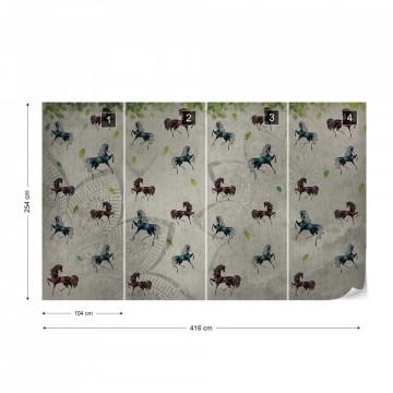 Vintage Horses Pattern Photo Wallpaper Wall Mural