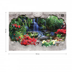 Waterfall Forest 3D Hole In Wall Photo Wallpaper Wall Mural