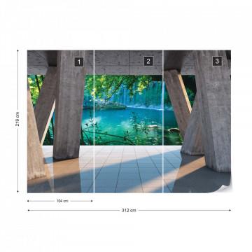 Waterfall Lake 3D Modern View Concrete Photo Wallpaper Wall Mural