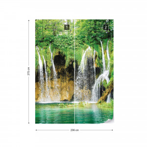Waterfall Lake Forest Nature Photo Wallpaper Wall Mural