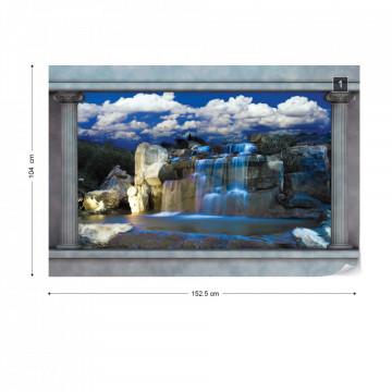 Waterfalls Roman Column View Photo Wallpaper Wall Mural