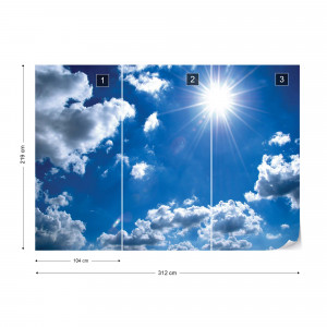 White Clouds Blue Sky Photo Wallpaper Wall Mural