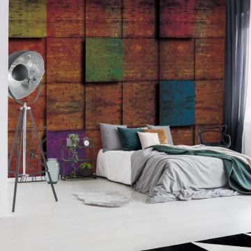 Wood Cubes Photo Wallpaper Wall Mural