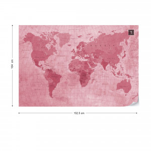World Map Textured Red